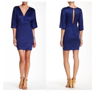 🆕 Free Press Sexy Deep V Neck Navy Blue Dress 💙